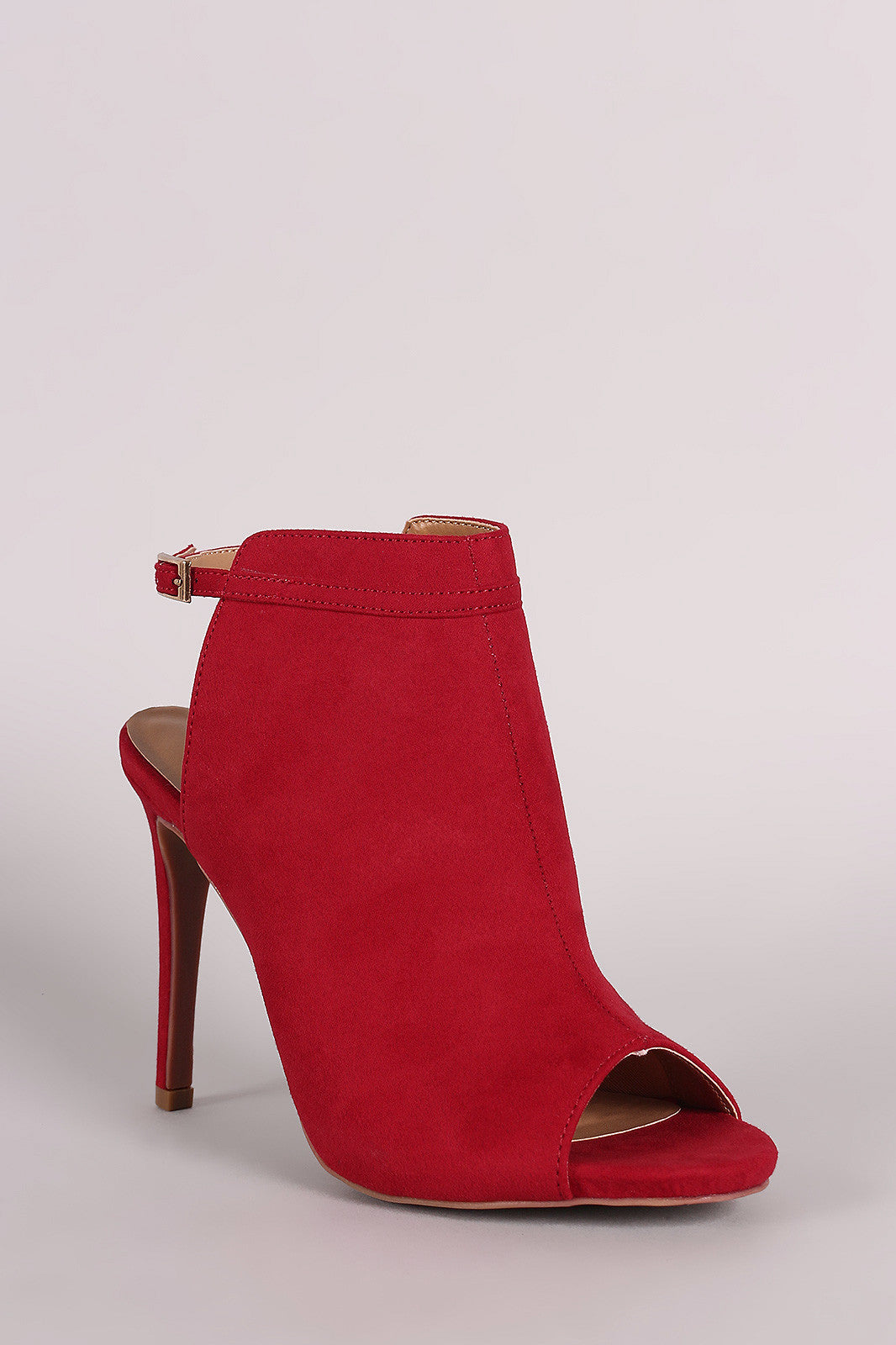 Anne Michelle Suede Peep Toe Mule Booties - Thick 'N' Curvy Shop - 2