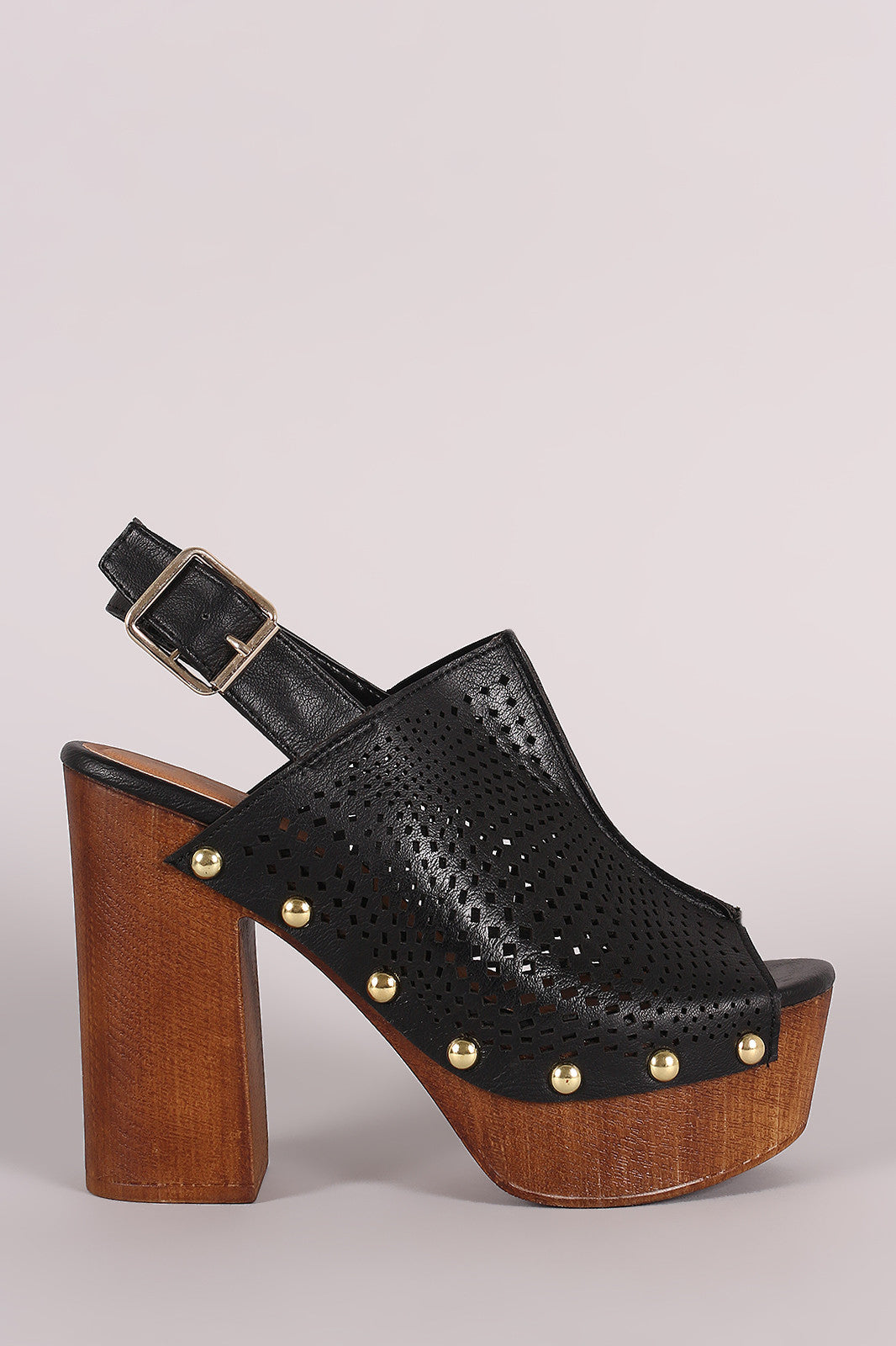 Qupid Perforated Slingback Studded Chunky Platform Mule Heel - Thick 'N' Curvy Shop - 7