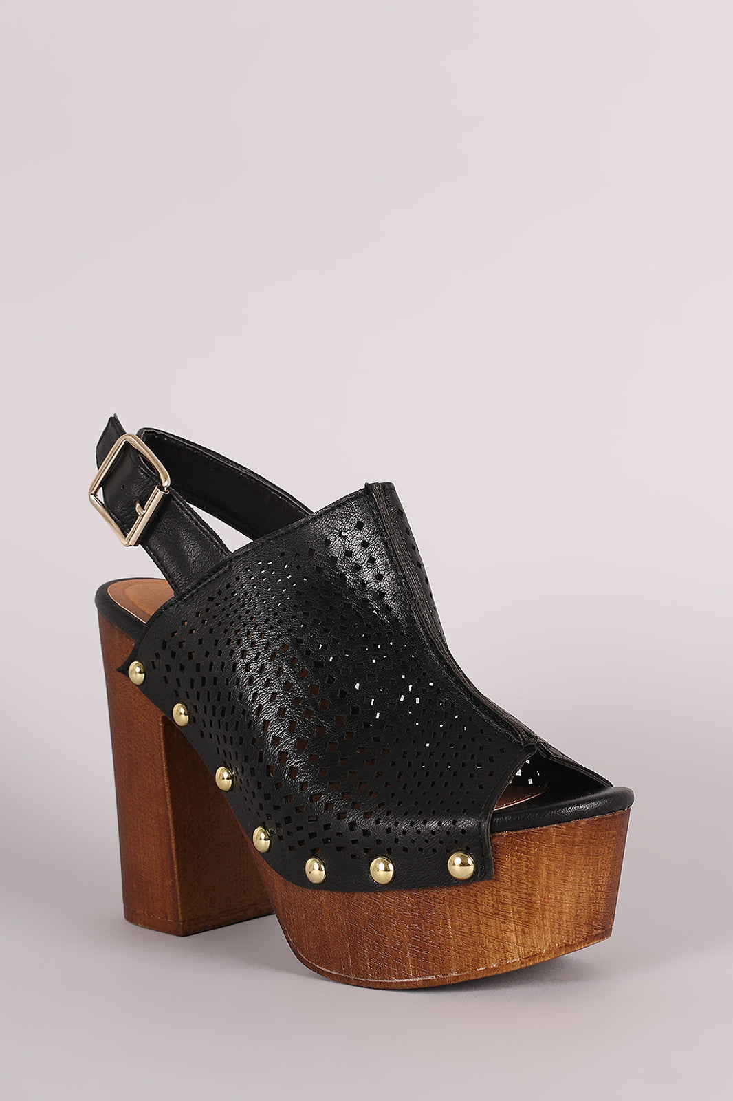 Qupid Perforated Slingback Studded Chunky Platform Mule Heel - Thick 'N' Curvy Shop - 8