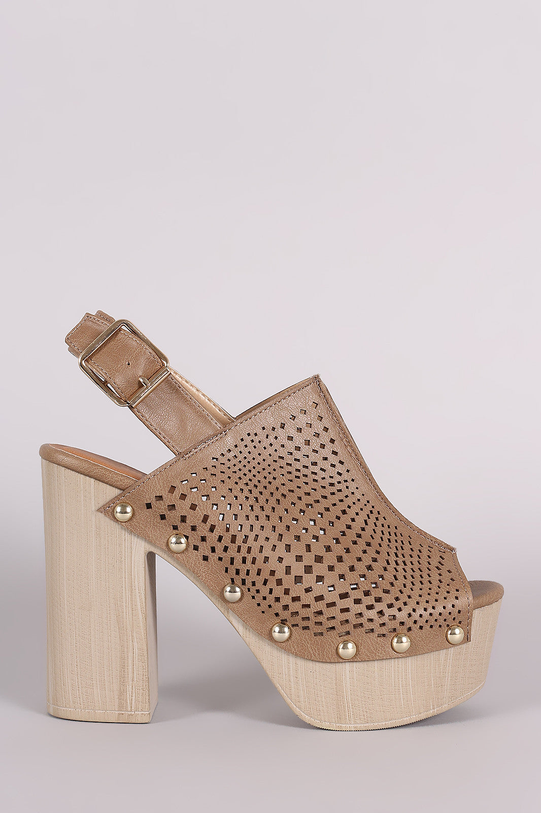 Qupid Perforated Slingback Studded Chunky Platform Mule Heel - Thick 'N' Curvy Shop - 4