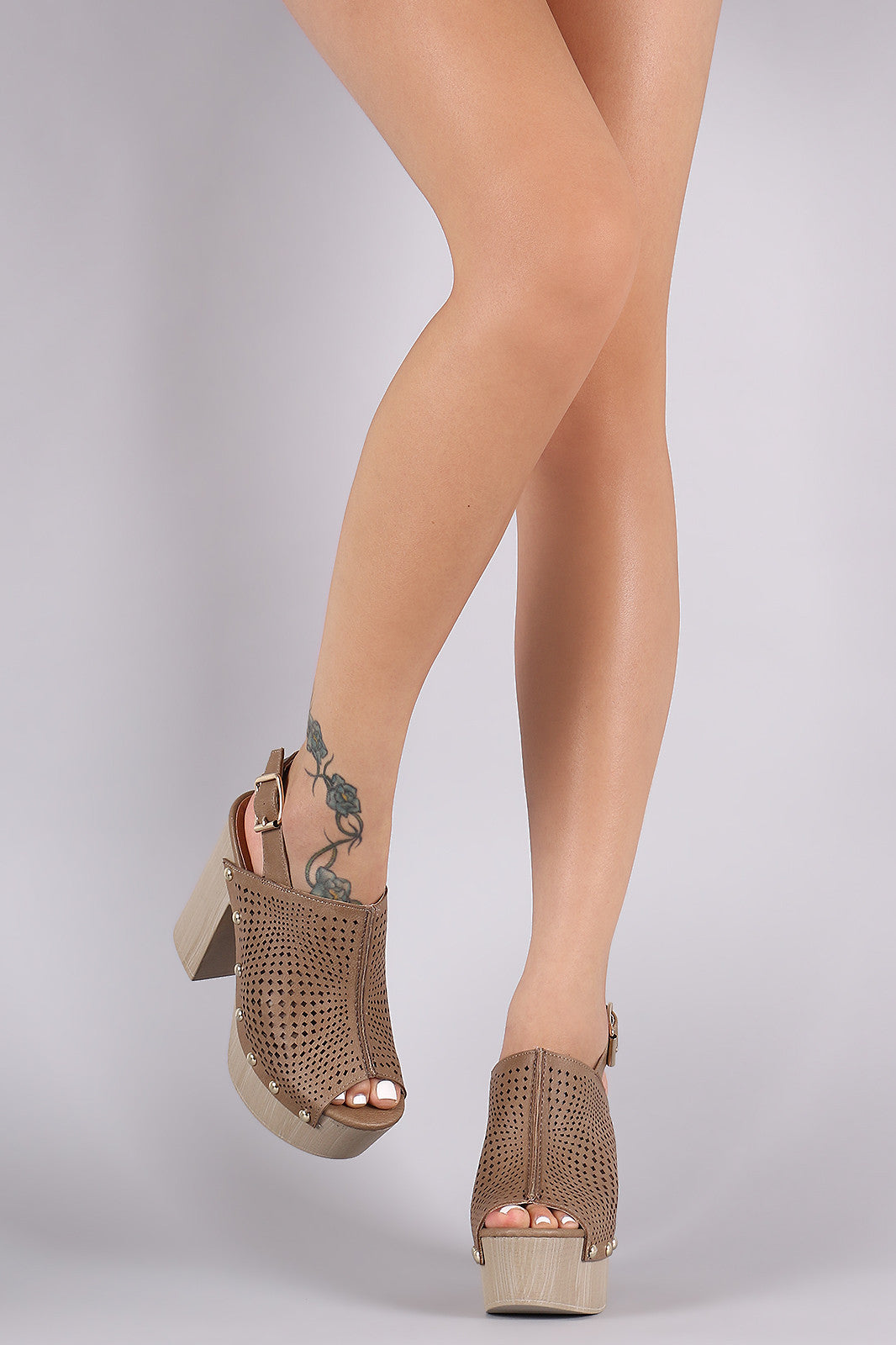 Qupid Perforated Slingback Studded Chunky Platform Mule Heel - Thick 'N' Curvy Shop - 6
