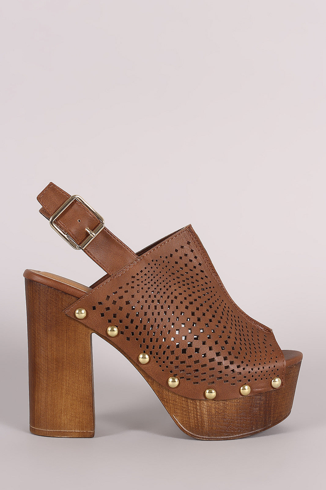 Qupid Perforated Slingback Studded Chunky Platform Mule Heel - Thick 'N' Curvy Shop - 1