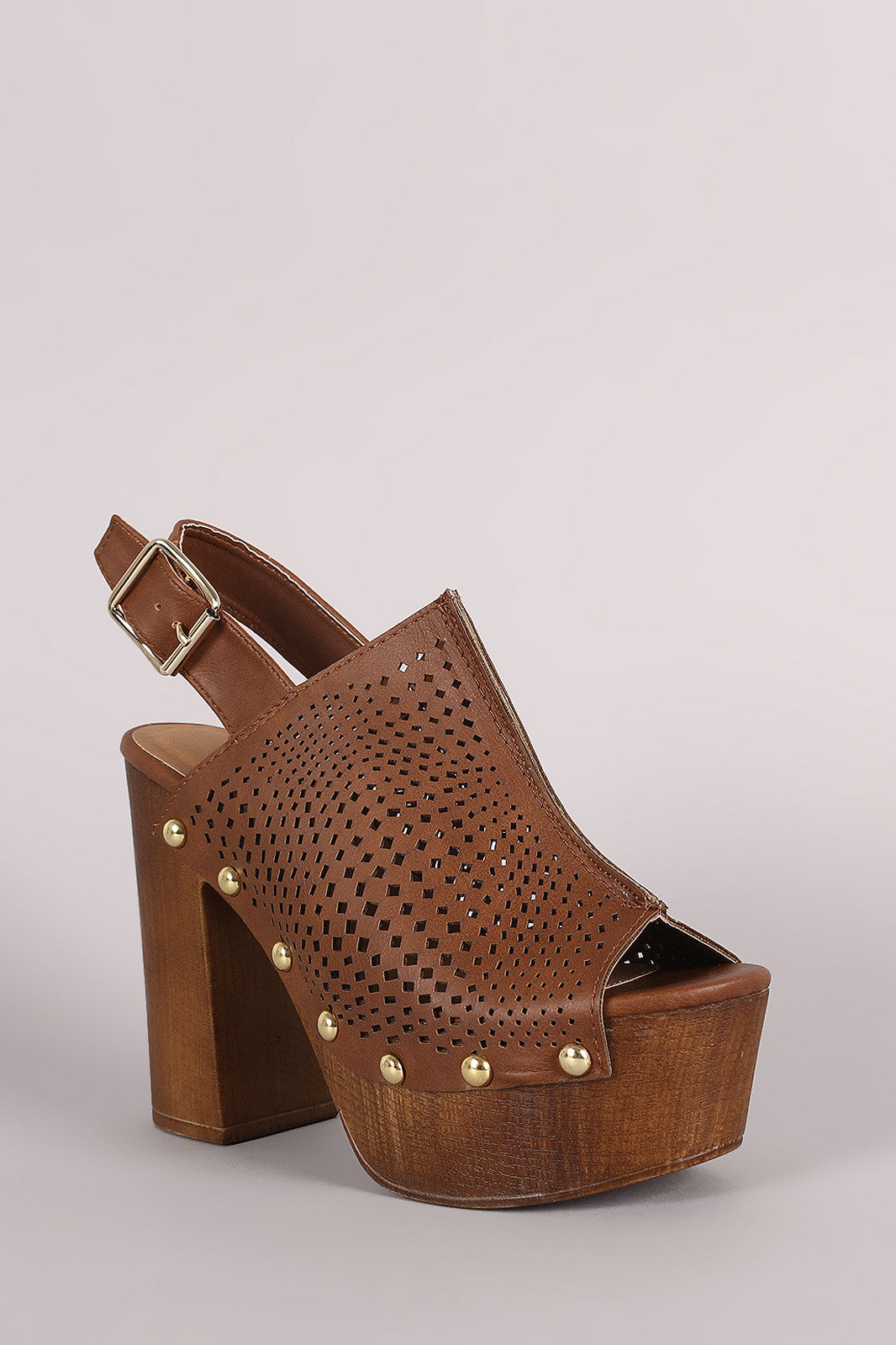 Qupid Perforated Slingback Studded Chunky Platform Mule Heel - Thick 'N' Curvy Shop - 2