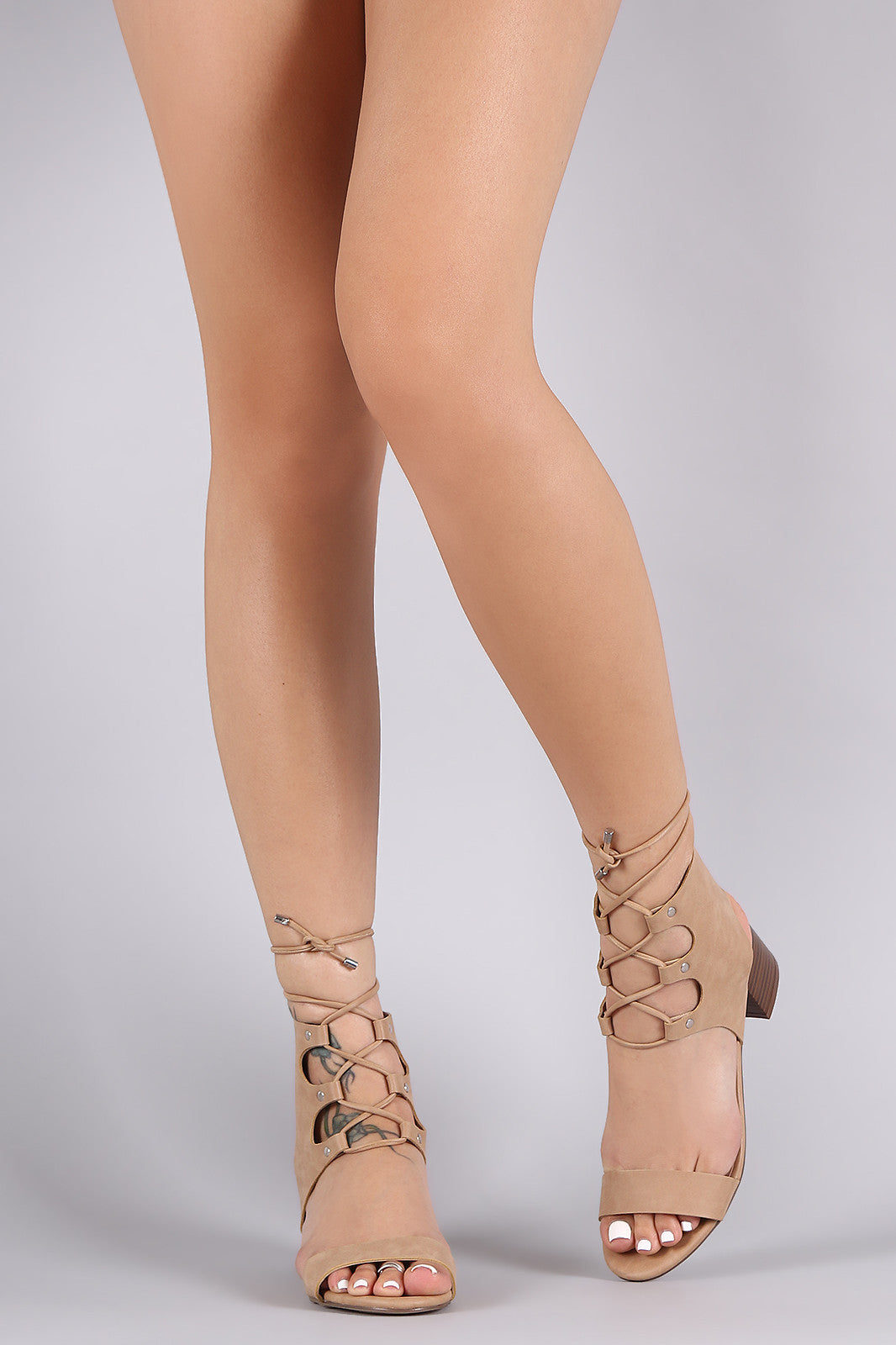 Breckelle Open Toe Lace Up Chunky Heel - Thick 'N' Curvy Shop - 12