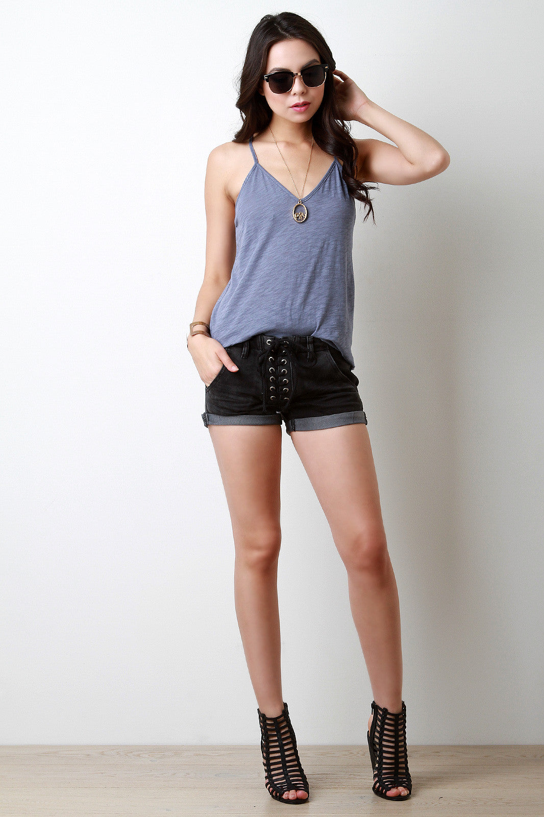 Lace Up Low Waist Denim Shorts - Thick 'N' Curvy Shop - 1