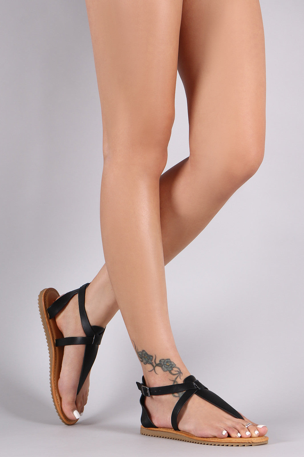 Bamboo Lug Sole Crisscross Ankle Strap Thong Flat Sandal - Thick 'N' Curvy Shop - 3