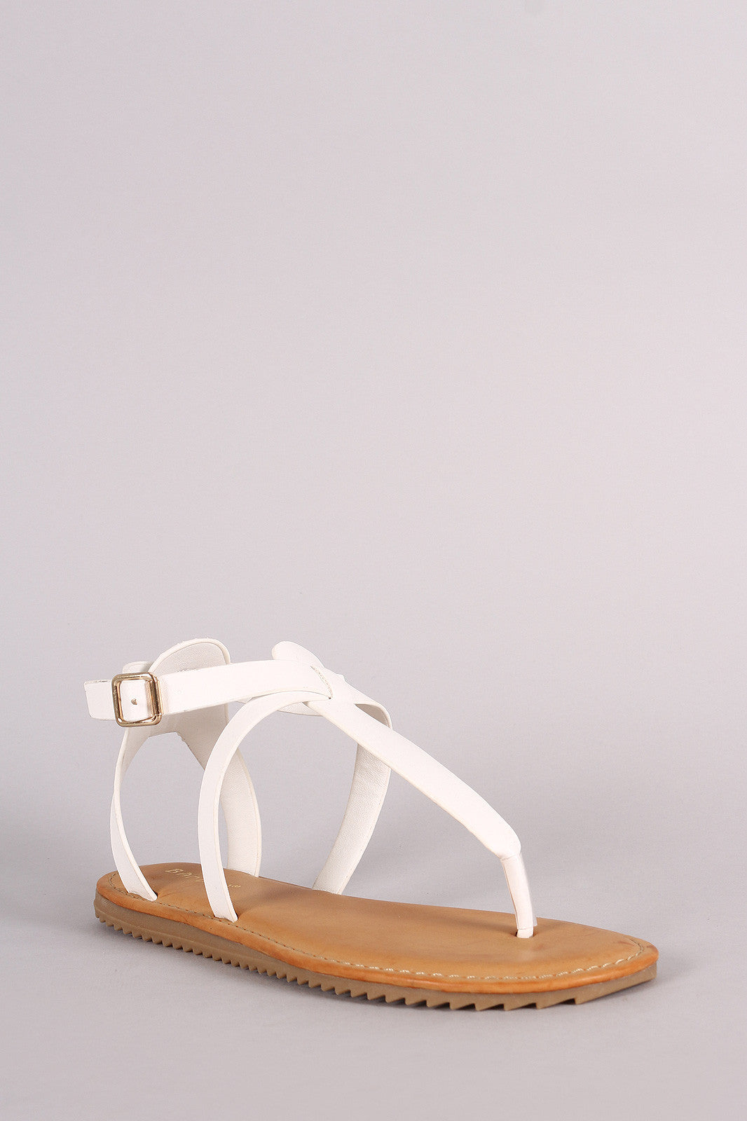 Bamboo Lug Sole Crisscross Ankle Strap Thong Flat Sandal - Thick 'N' Curvy Shop - 5