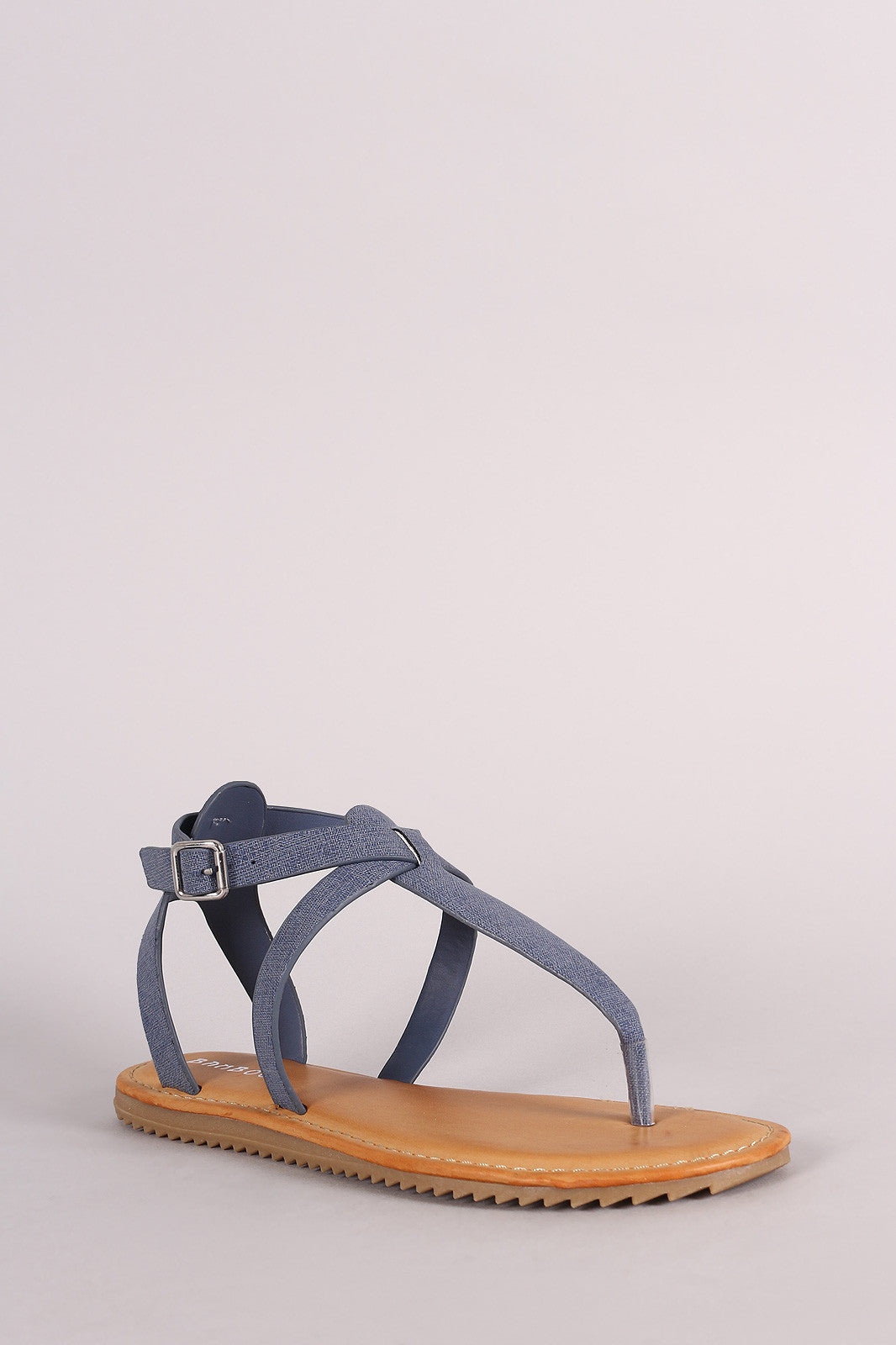 Bamboo Nubuck Lug Sole Crisscross Ankle Strap Thong Flat Sandal - Thick 'N' Curvy Shop - 7