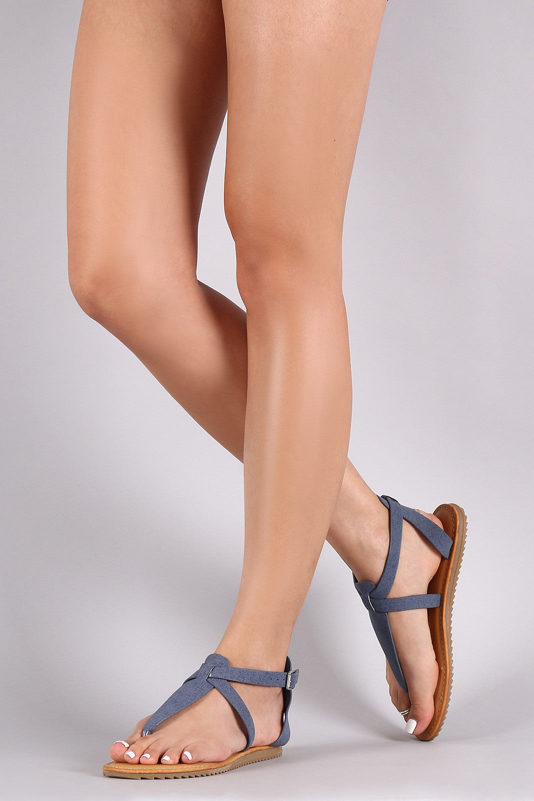 Bamboo Nubuck Lug Sole Crisscross Ankle Strap Thong Flat Sandal - Thick 'N' Curvy Shop - 8