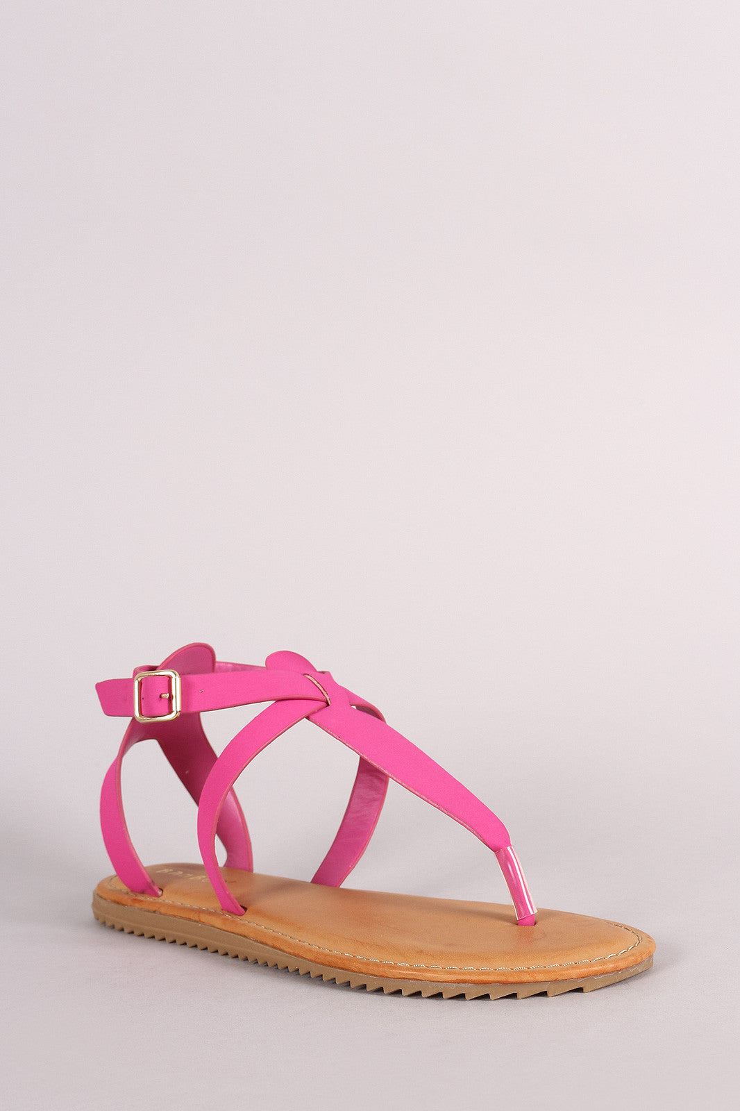 Bamboo Nubuck Lug Sole Crisscross Ankle Strap Thong Flat Sandal - Thick 'N' Curvy Shop - 2