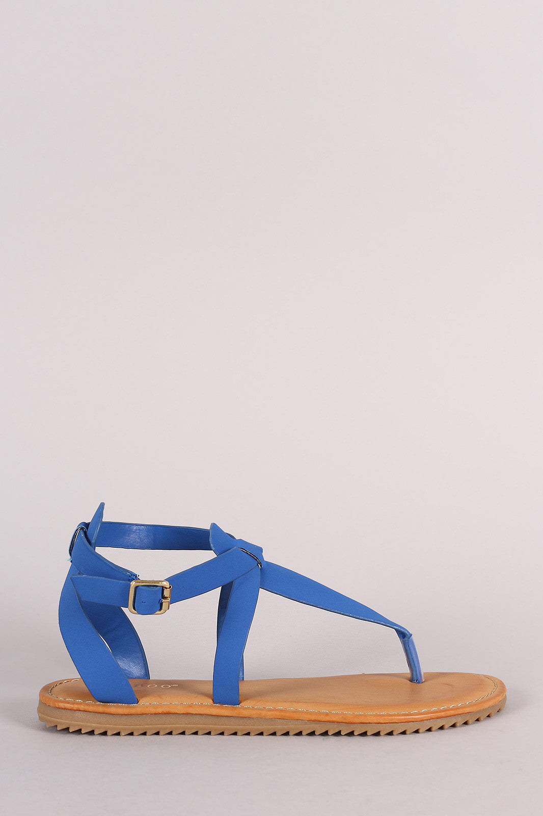 Bamboo Nubuck Lug Sole Crisscross Ankle Strap Thong Flat Sandal - Thick 'N' Curvy Shop - 4