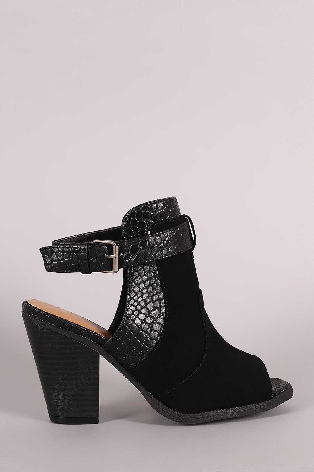 Wild Diva Lounge Croco Ankle Strap Chunky Heeled Mule Booties - Thick 'N' Curvy Shop - 1