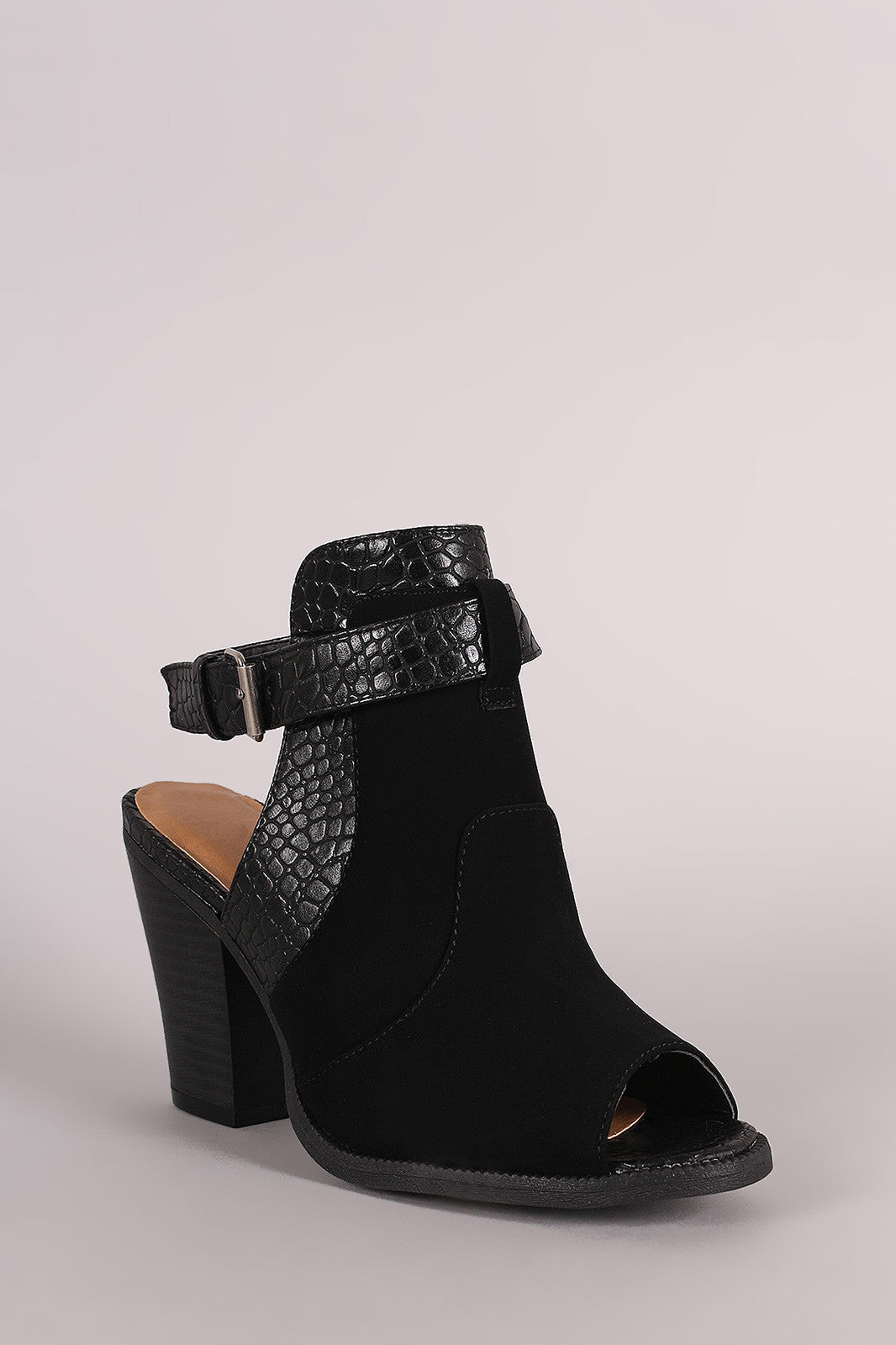 Wild Diva Lounge Croco Ankle Strap Chunky Heeled Mule Booties - Thick 'N' Curvy Shop - 2