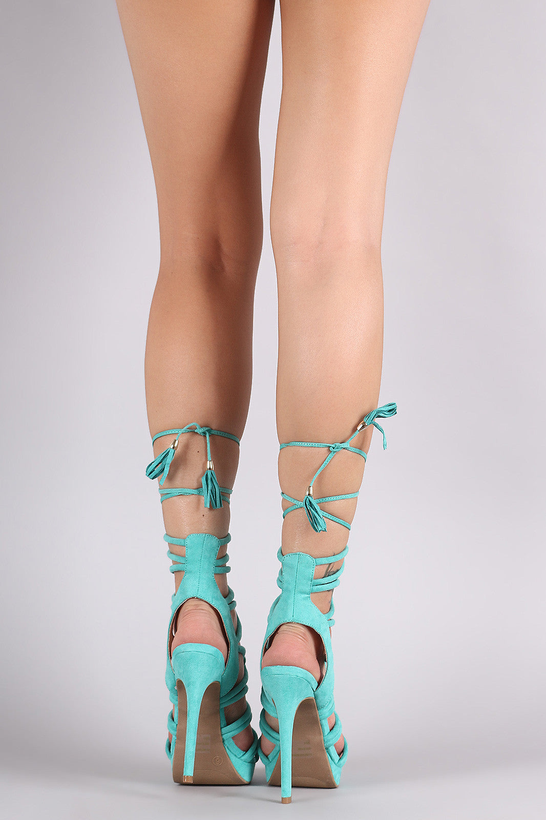 Wild Diva Lounge Suede Strappy Loop Lace-Up Platform Heel - Thick 'N' Curvy Shop - 2