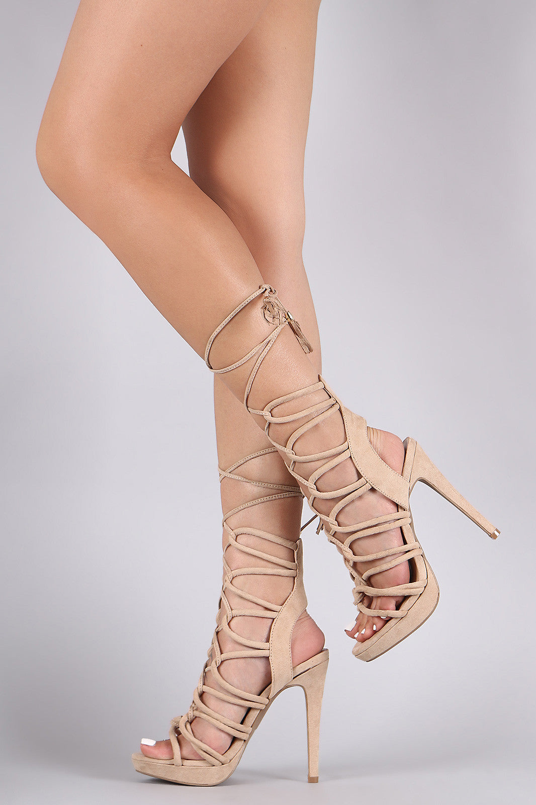 Wild Diva Lounge Suede Strappy Loop Lace-Up Platform Heel - Thick 'N' Curvy Shop - 8
