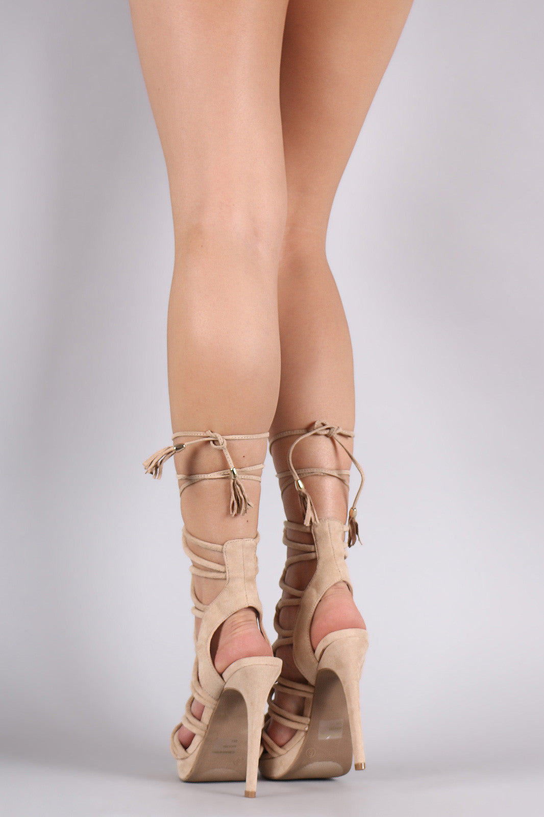 Wild Diva Lounge Suede Strappy Loop Lace-Up Platform Heel - Thick 'N' Curvy Shop - 9