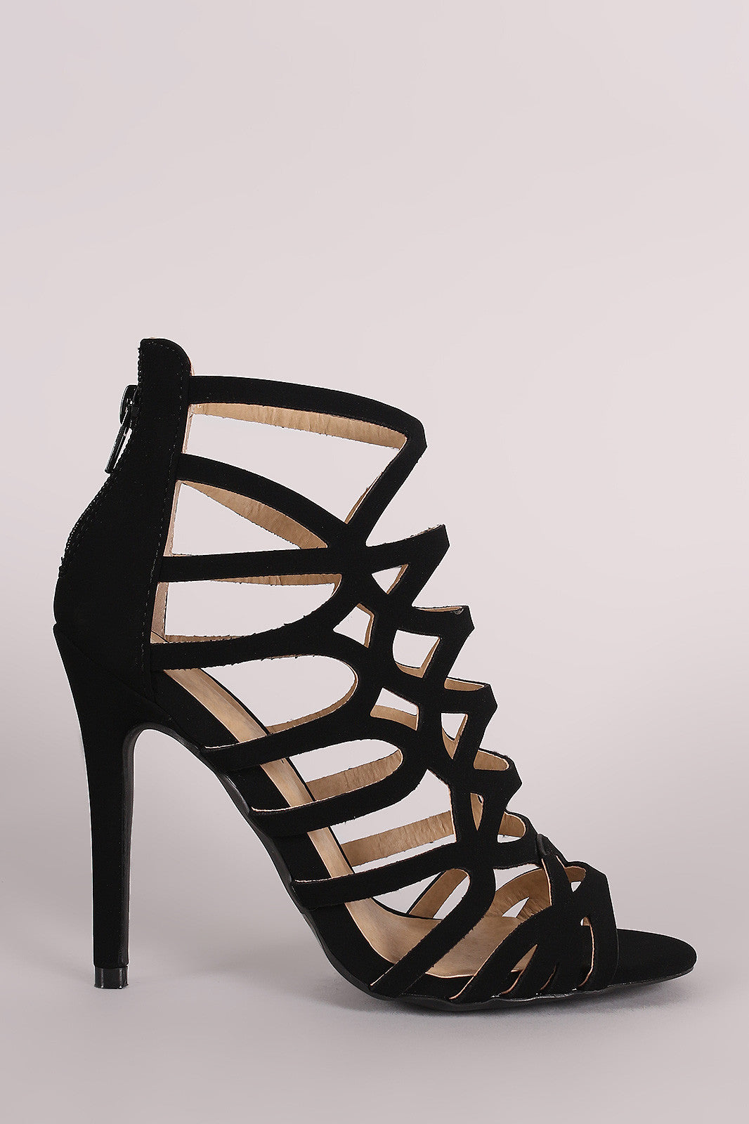 Qupid Nubuck Strappy Caged Stiletto Heel - Thick 'N' Curvy Shop - 4