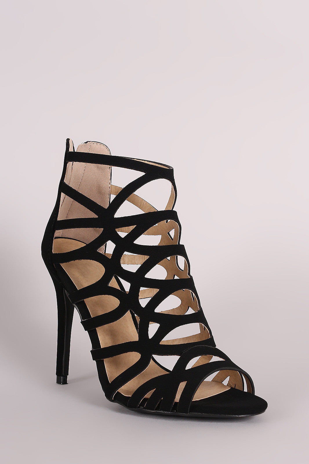 Qupid Nubuck Strappy Caged Stiletto Heel - Thick 'N' Curvy Shop - 5