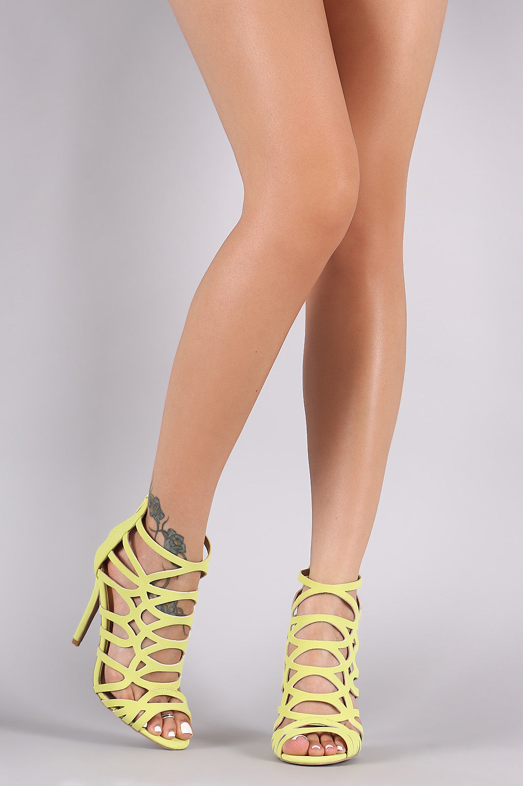 Qupid Nubuck Strappy Caged Stiletto Heel - Thick 'N' Curvy Shop - 3