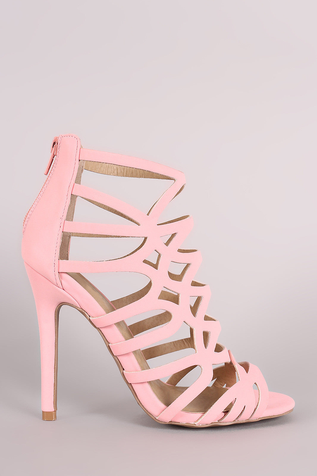 Qupid Nubuck Strappy Caged Stiletto Heel - Thick 'N' Curvy Shop - 9