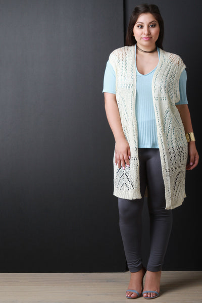 Knit Crochet Open Front Cardigan - Thick 'N' Curvy Shop - 1