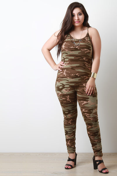 Camo Print Sleeveless Jumpsuit - Thick 'N' Curvy Shop - 1