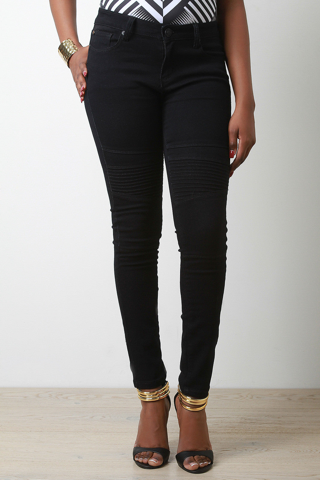 Edgy Moto Style Jeans - Thick 'N' Curvy Shop - 2
