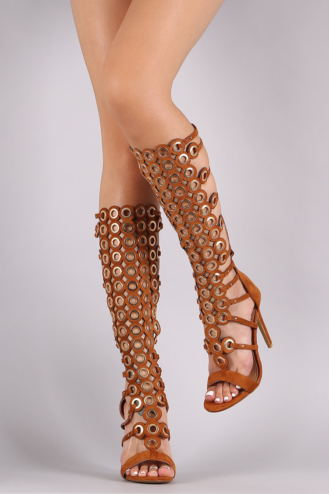 Suede Grommets Embellished Strappy Gladiator Heel - Thick 'N' Curvy Shop - 4