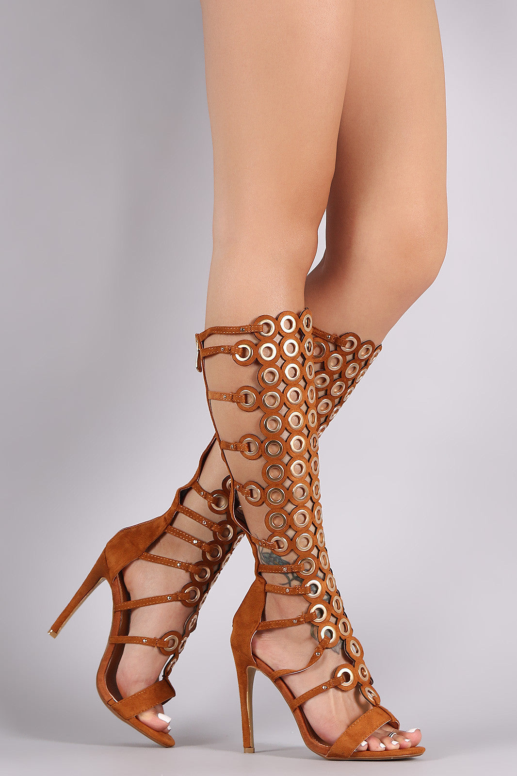 Suede Grommets Embellished Strappy Gladiator Heel - Thick 'N' Curvy Shop - 5