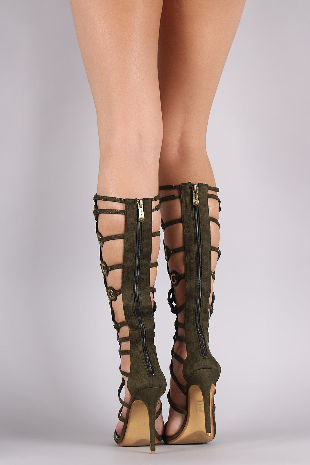 Suede Grommets Embellished Strappy Gladiator Heel - Thick 'N' Curvy Shop - 3
