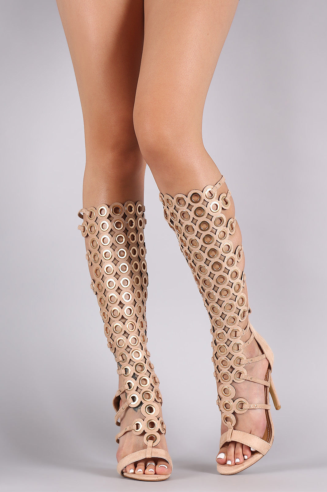Suede Grommets Embellished Strappy Gladiator Heel - Thick 'N' Curvy Shop - 10