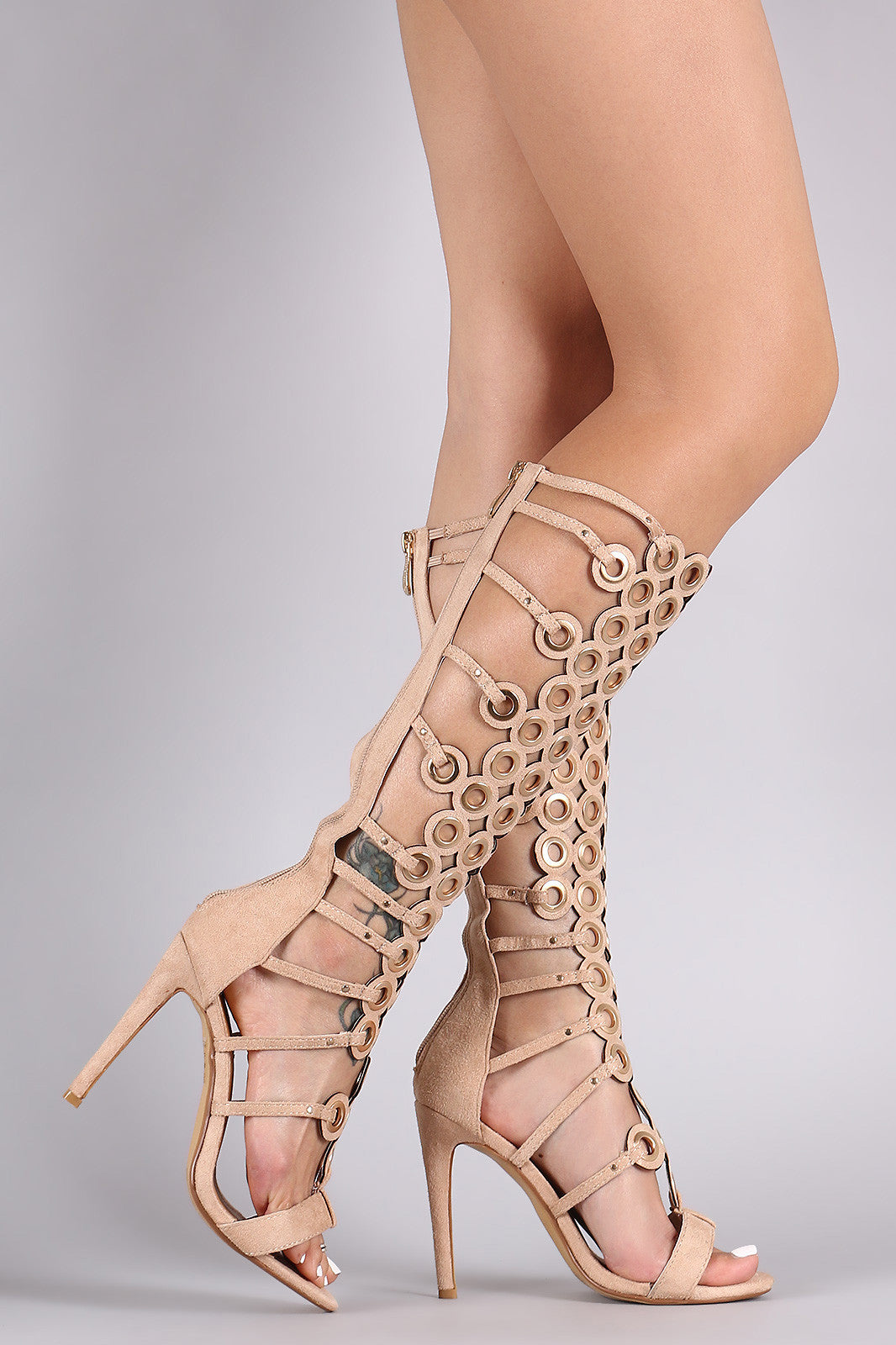Suede Grommets Embellished Strappy Gladiator Heel - Thick 'N' Curvy Shop - 11