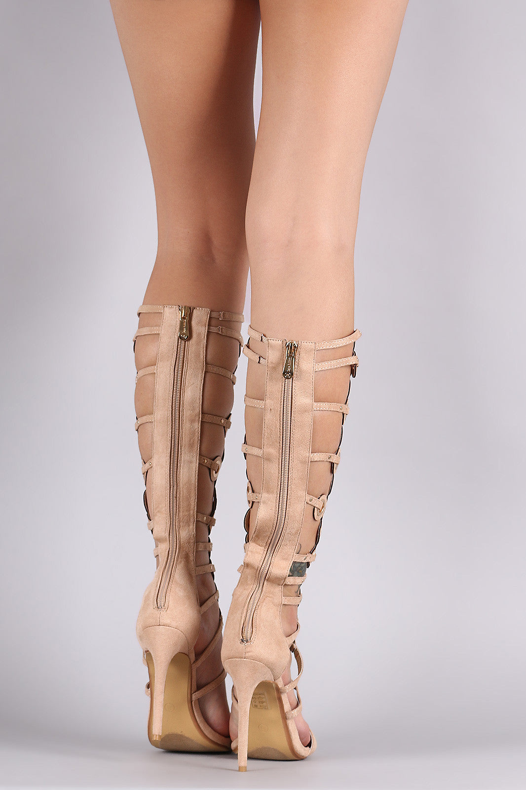 Suede Grommets Embellished Strappy Gladiator Heel - Thick 'N' Curvy Shop - 12