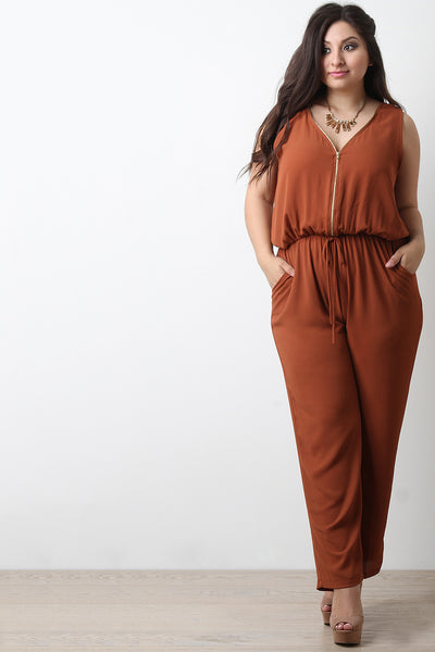 Chiffon Zip-Up Sleeveless Jumpsuit - Thick 'N' Curvy Shop - 1