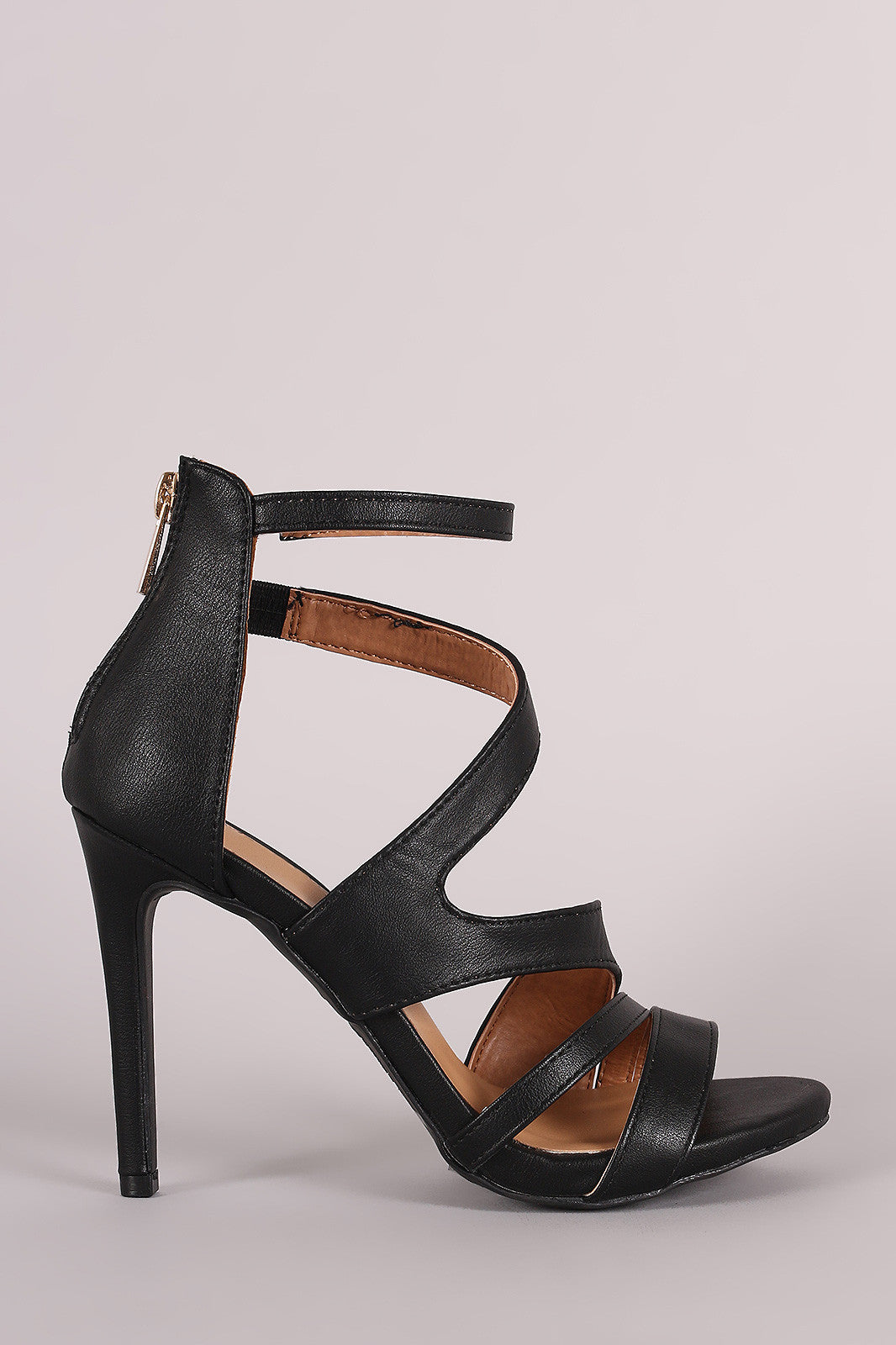 Anne Michelle Strappy Slanted Peep Toe Stiletto Heel - Thick 'N' Curvy Shop - 4