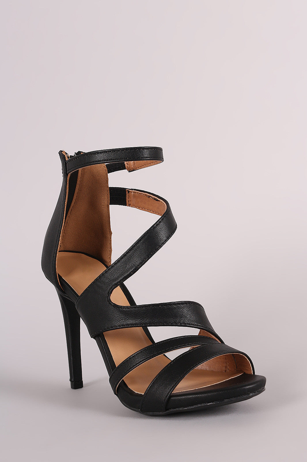 Anne Michelle Strappy Slanted Peep Toe Stiletto Heel - Thick 'N' Curvy Shop - 5