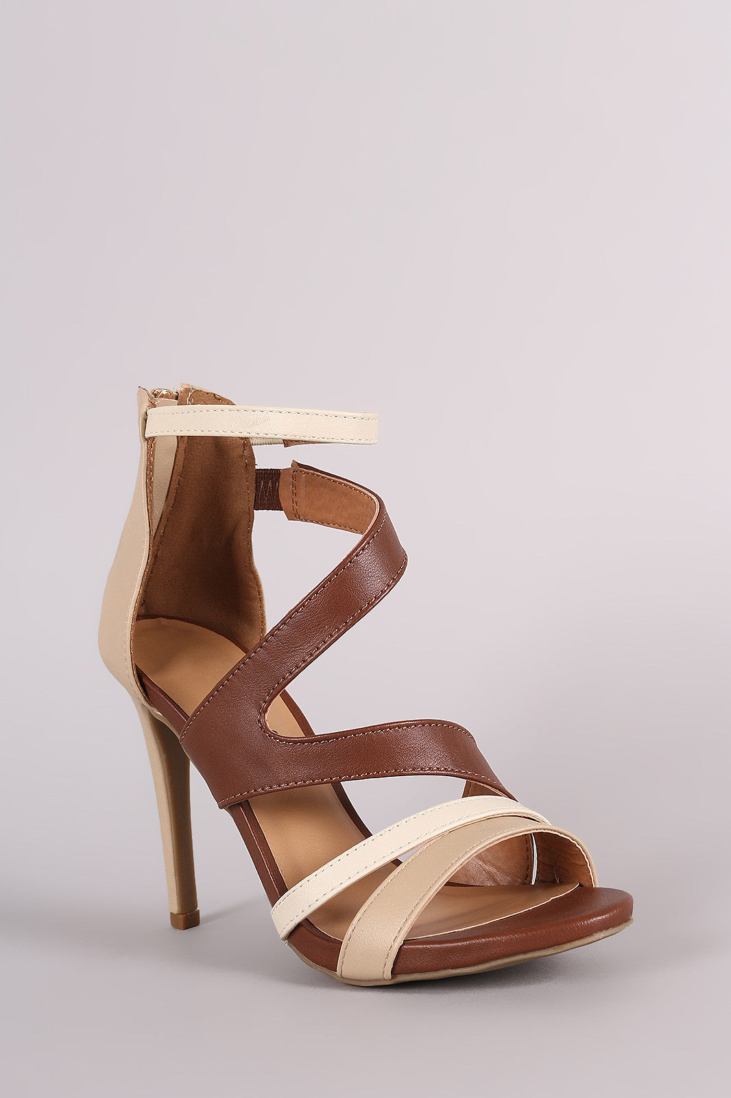Anne Michelle Strappy Slanted Peep Toe Stiletto Heel - Thick 'N' Curvy Shop - 2