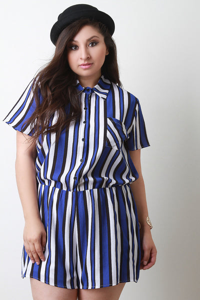 Chiffon Striped Button-Up Short Sleeve Romper - Thick 'N' Curvy Shop - 1