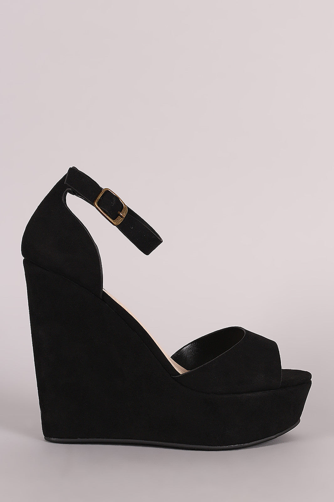 Bamboo Suede One Band Platform Wedge - Thick 'N' Curvy Shop - 7