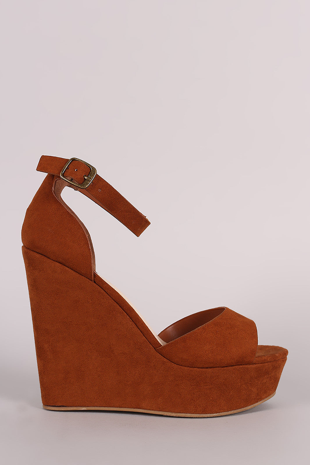 Bamboo Suede One Band Platform Wedge - Thick 'N' Curvy Shop - 4