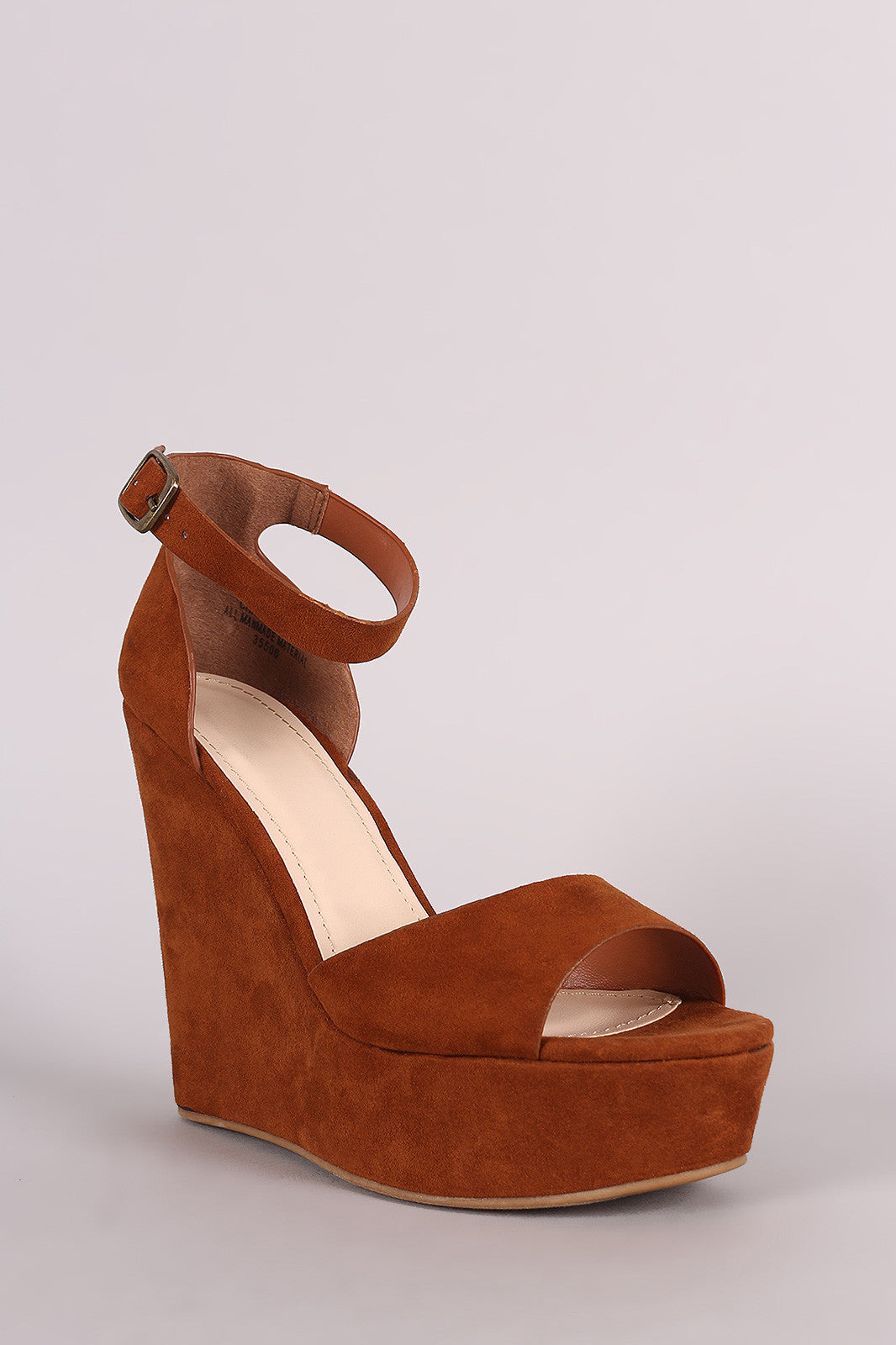 Bamboo Suede One Band Platform Wedge - Thick 'N' Curvy Shop - 5