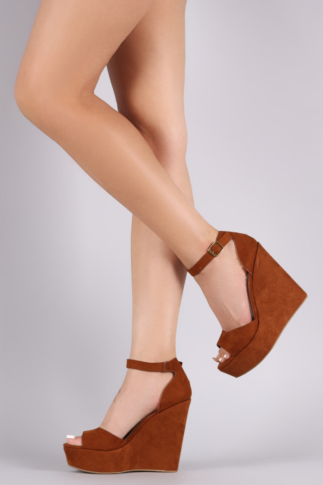 Bamboo Suede One Band Platform Wedge - Thick 'N' Curvy Shop - 6
