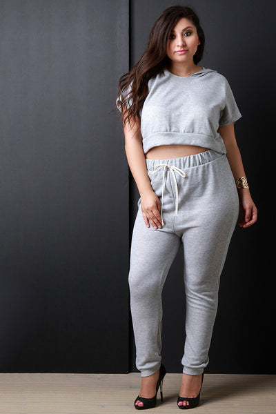 Heathered Knit Jogger Pants - Thick 'N' Curvy Shop - 1