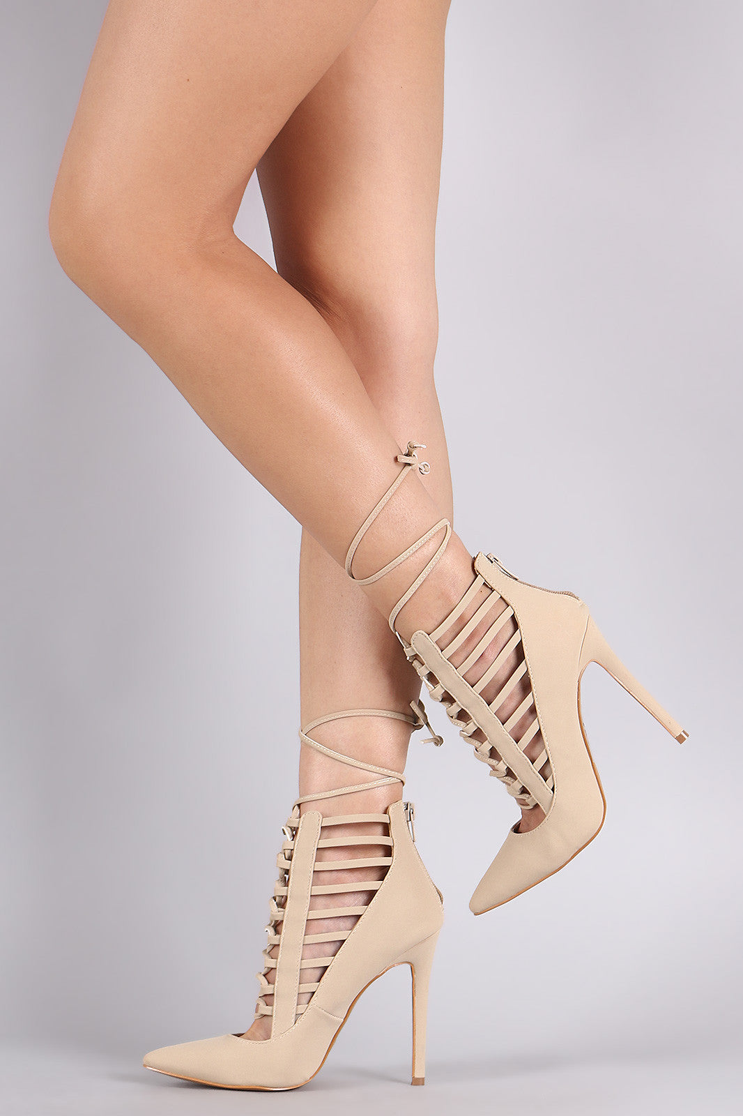 Shoe Republic LA Pointy Toe Caged Lace-Up Pump - Thick 'N' Curvy Shop - 3