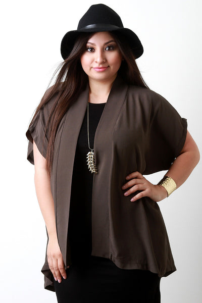 Dolman Sleeve Open Front Cardigan - Thick 'N' Curvy Shop - 1