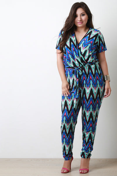 Chevron Surplice Short Sleeve Jumpsuit - Thick 'N' Curvy Shop - 1