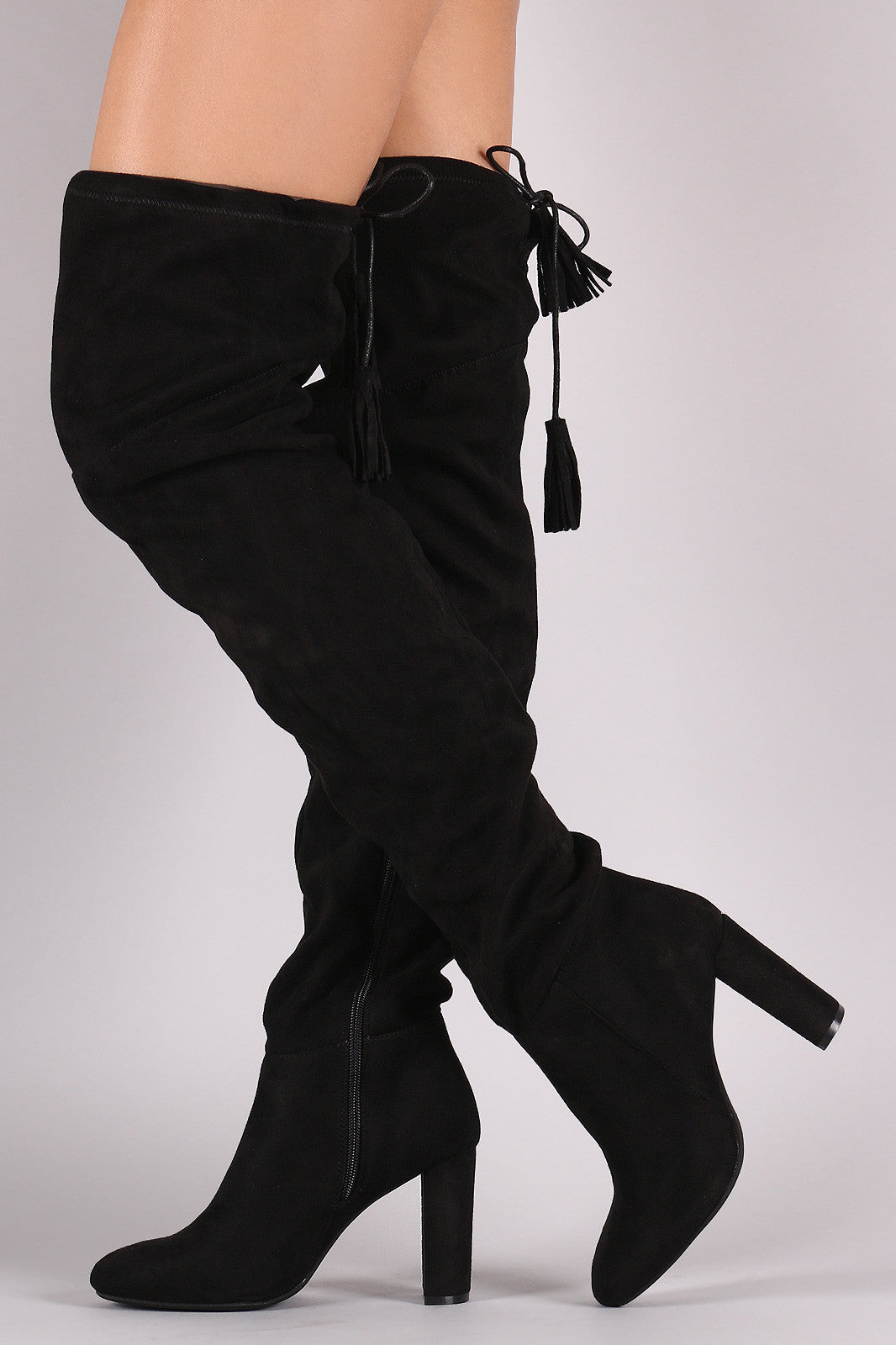 Suede Tassel Drawstring Chunky Heeled Over-The-Knee Boots - Thick 'N' Curvy Shop - 6