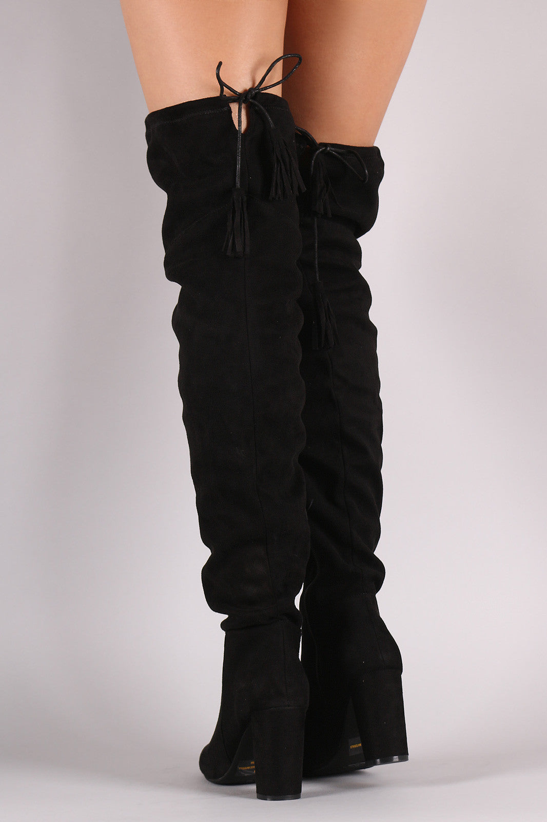 Suede Tassel Drawstring Chunky Heeled Over-The-Knee Boots - Thick 'N' Curvy Shop - 4