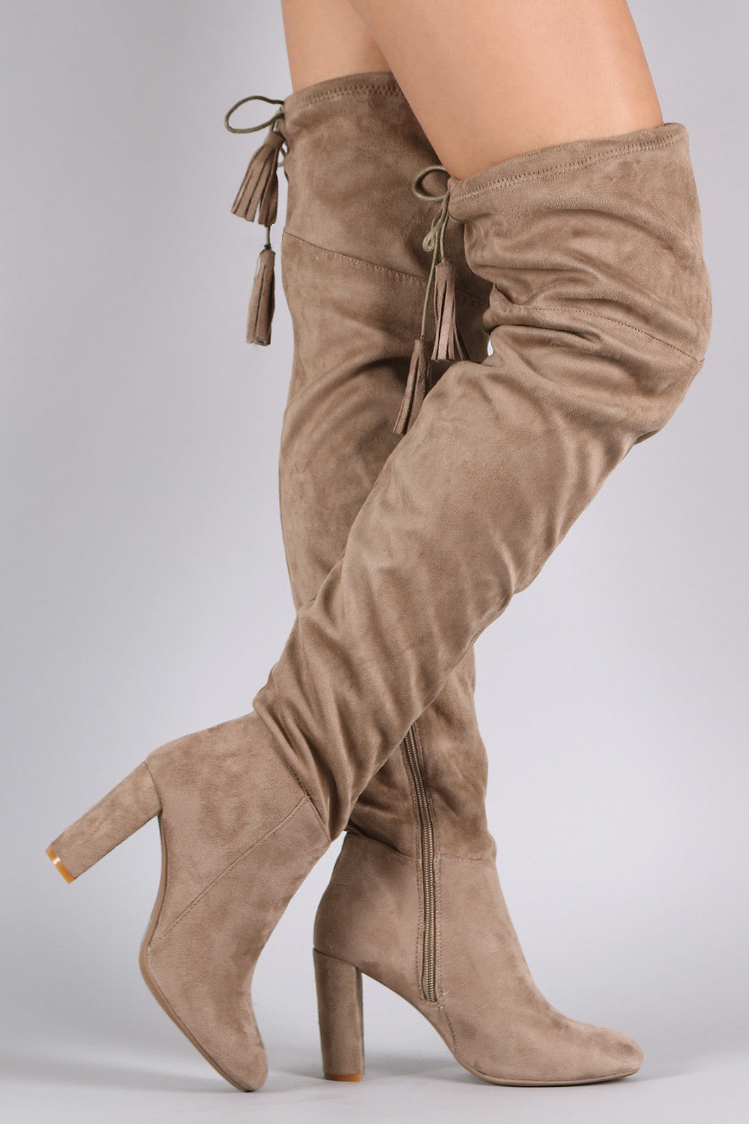 Suede Tassel Drawstring Chunky Heeled Over-The-Knee Boots - Thick 'N' Curvy Shop - 1