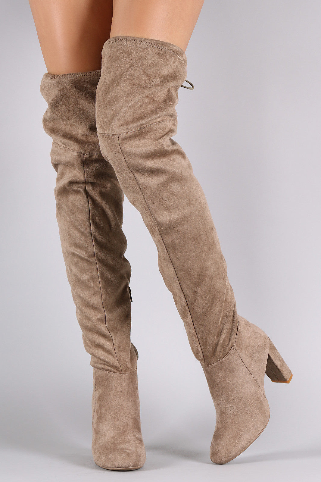 Suede Tassel Drawstring Chunky Heeled Over-The-Knee Boots - Thick 'N' Curvy Shop - 2